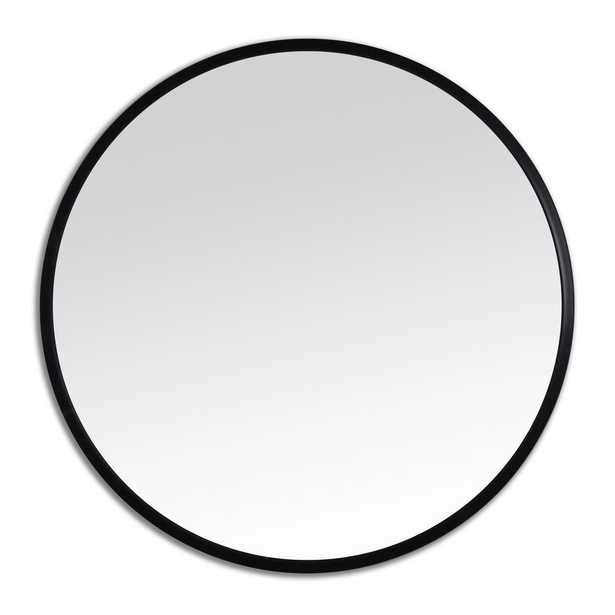 better bevel 24 in. x 24 in. Rubber Framed Round Mirror in Black - Home Depot