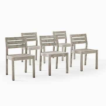 Portside Outdoor Dining Chair, Driftwood, Set of 6 - West Elm