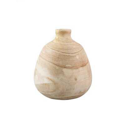 "Union Rustic Paulownia Wood Bottle Vase, Handmade Wooden Vase For Home Décor, Parties, Wedding Centerpiece, Floral Arrangements, Measures 10"" Tall & 9"" Diameter - Wayfair"