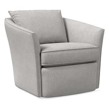 Duffield Swivel Chair, Performance Coastal Linen, Platinum - West Elm