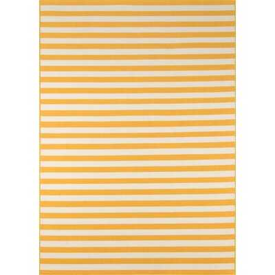Yepez Striped Yellow/White Indoor / Outdoor Area Rug - Wayfair