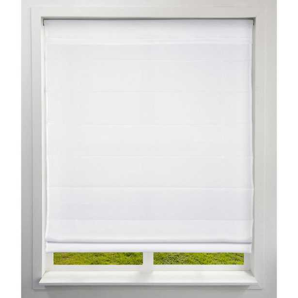 Arlo Blinds Cut-to-Size Cloud White Cordless Bottom Up Light-Filtering Fabric Roman Shade 34 in. W x 60 in. L (Actual Size) - Home Depot