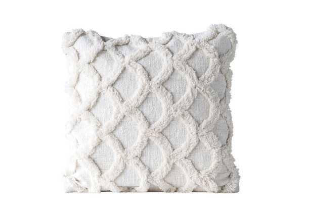 "Square Chenille Pillow, White Cotton, 18"" x 18"" - Nomad Home"