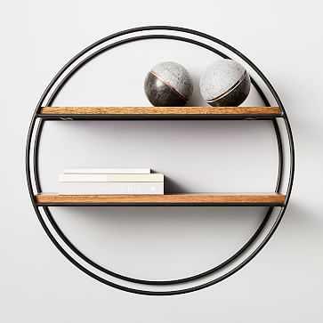 Round 2-Tier Anton Wood & Metal Shelf, Burnt Wax - West Elm