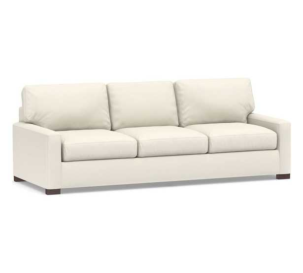 """Turner Square Arm Upholstered Grand Sofa 3-Seater 102.5"""", Down Blend Wrapped Cushions, Dove, Performance Heathered Basketweave - Pottery Barn"""