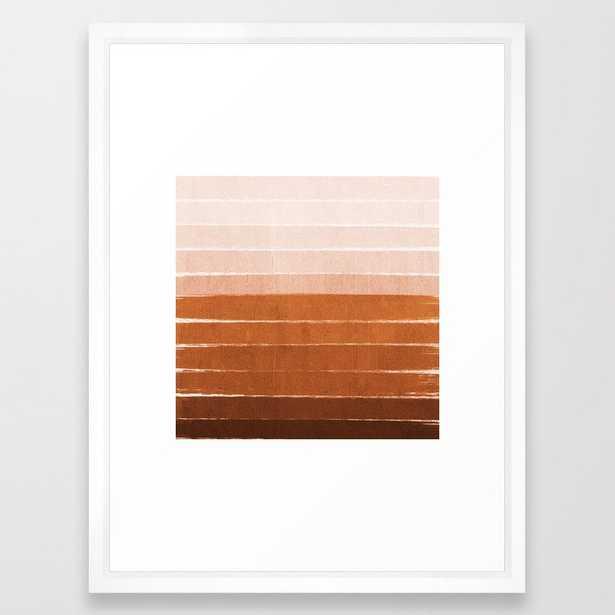 Sunset - Rust, Terracotta, Clay, Desert, Sunshine, Boho, Ombre, Paint, Sunset Colors, Framed Art Print by Charlottewinter - Vector White - MEDIUM (Gallery)-20x26 - Society6