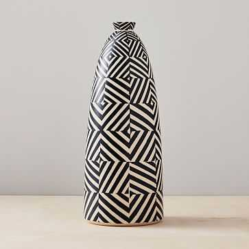 Cody Hoyt Ceramic Vase, Charcoal + White - West Elm