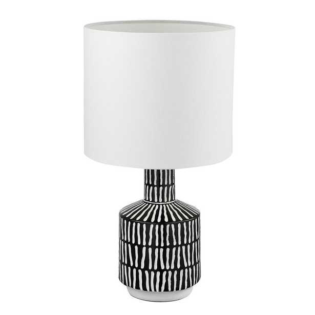 Globe Electric Aria 18 in. Black and White Patterned Table Lamp with White Fabric Shade - Home Depot