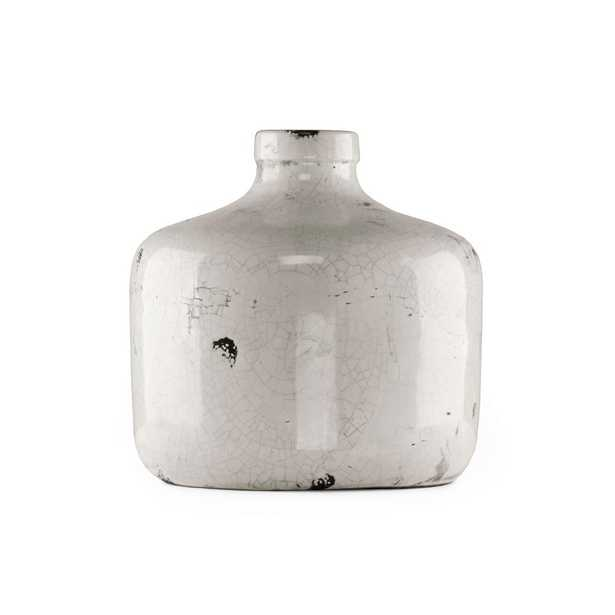 Zentique Round Distressed White Medium Decorative Vase, Distressed Crackle White - Home Depot