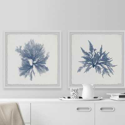 Navy Sea Weed VI' by Marmont Hill Picture Frame Print Set on Paper, Set of 2 - Wayfair