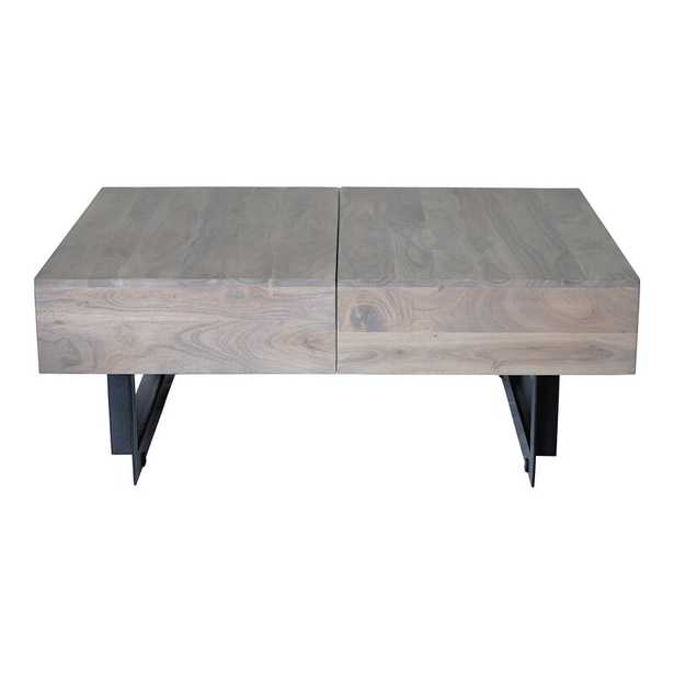 """Tiburon Sled Coffee Table with Storage Table Top Color: Light Gray, Size: 15"""" H x 32"""" L x 42"""" W - Perigold"""