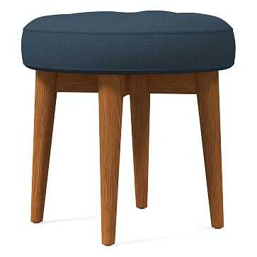 Mid-Century Upholstered Stool, Poly, Yarn Dyed Linen Weave, Regal Blue, Pecan - West Elm