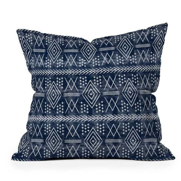 """Vintage Moroccan On Blue by Little Arrow Design Co - Outdoor Throw Pillow 18"""" x 18"""" - Wander Print Co."""
