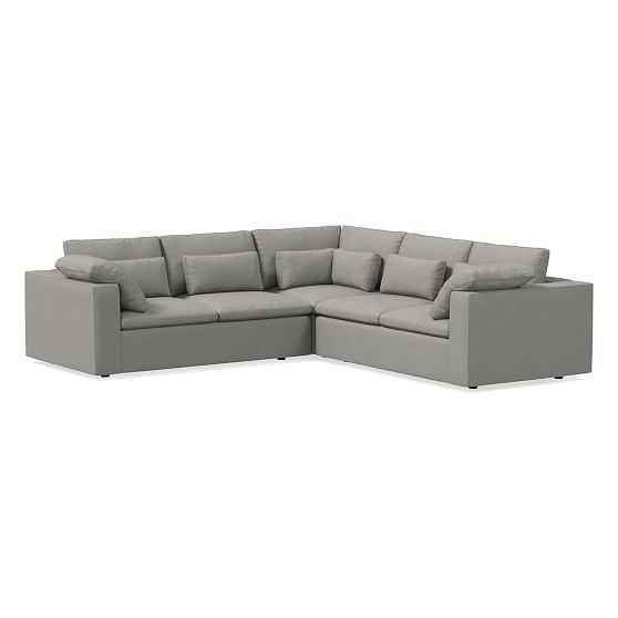 Harmony Modular Sectional Set 03: Left Arm Sofa & Corner & Right Arm Sofa, Down, Twill, Platinum - West Elm