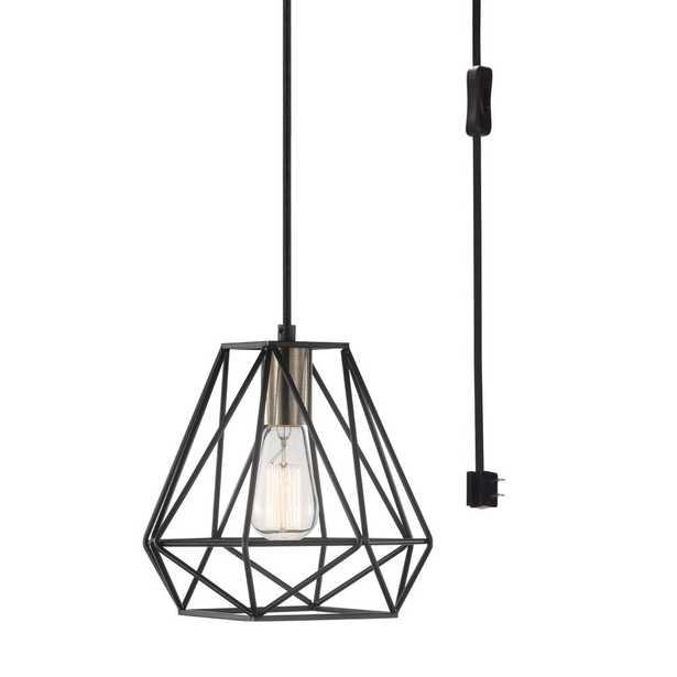 Globe Electric Sansa 1-Light Dark Bronze Plug-In or Hardwire Pendant Lighting - Home Depot