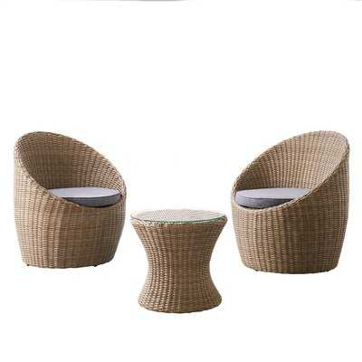 """Strafford All-weather Wicker Outdoor Set With Two Chairs And 18""""h Cocktail Table - Wayfair"""