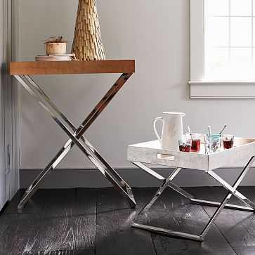Butler Bar Cart Set, Nickel Stand + Reclaimed Wood Tray - West Elm