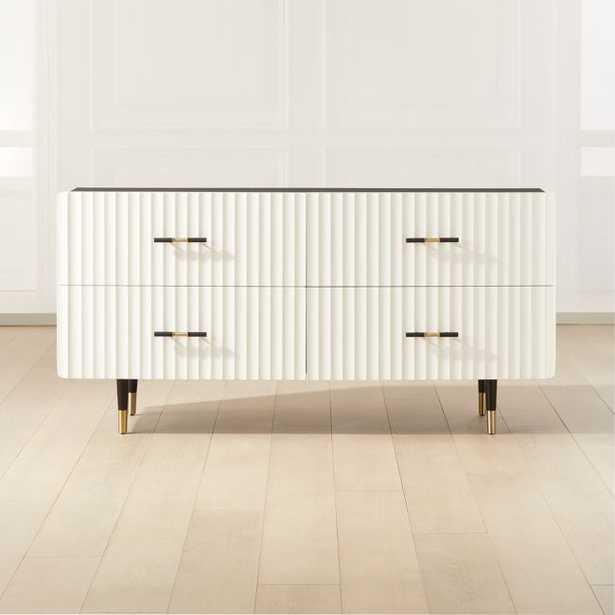 Crimped White Low Dresser - CB2