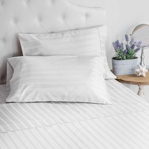 WELHOME The LuxuryDamask Stripe Sateen White Twin Sheet Set - Home Depot