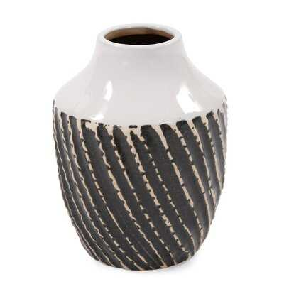"Kempton Black/White 6"" Ceramic Table Vase - Wayfair"
