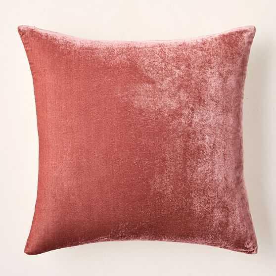 """Lush Velvet Pillow Cover, 20""""x20"""", Pink Grapefruit, Set of 2 - West Elm"""