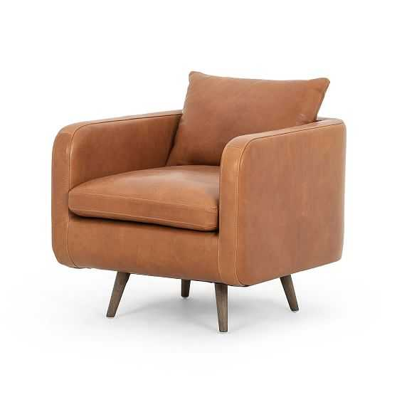 Rounded Back Swivel Chair, Tobacco Leather - West Elm