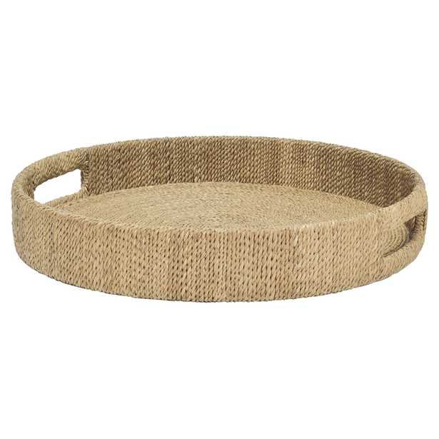 Palecek Monarch Coastal Wrapped Rope Seagrass Round Tray - S - Kathy Kuo Home