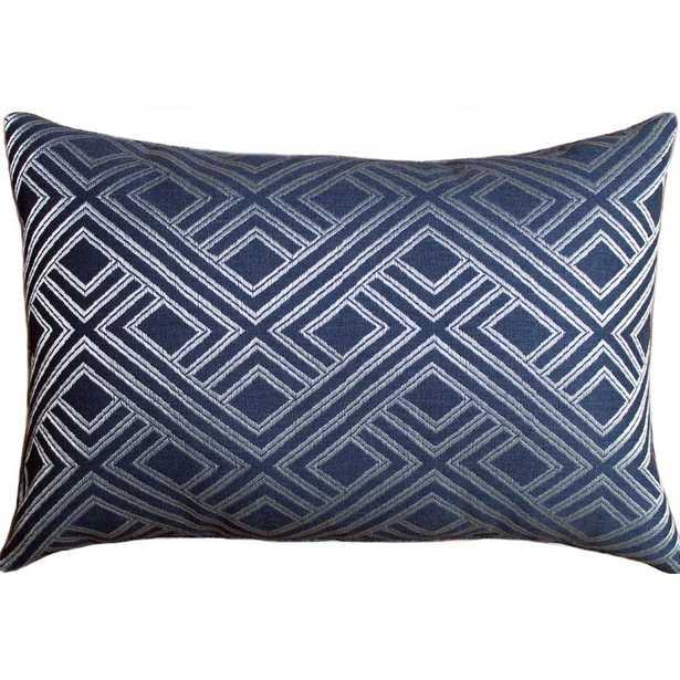 The Fabric Shoppe Sunbrella Metallic Weave Indoor / Outdoor Lumbar Pillow Color: Blue - Perigold