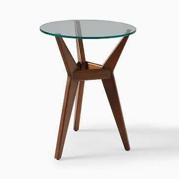 Jensen Collection, Side Table, Round, Dark Walnut, Glass - West Elm