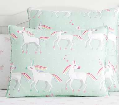 Molly Unicorn Dream Puff Comforter, Standard Sham, Aqua Multi - Pottery Barn Kids