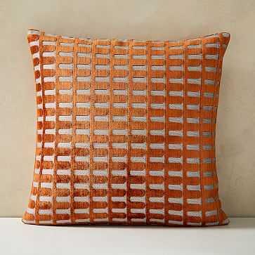"""Cut Velvet Archways Pillow Cover, 18""""x18"""", Copper - West Elm"""