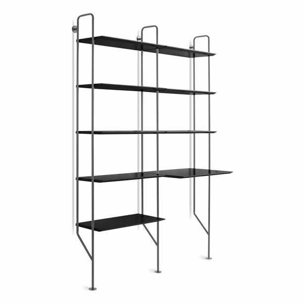Blu Dot Hitch Leaning/Ladder Desk Color (Frame): Slate, Color (Top): Black - Perigold
