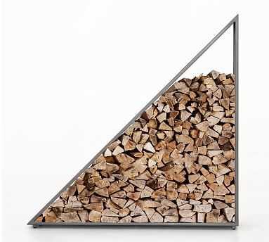 "Geometric Coated Gunmetal Firewood Holder, 12"" X 48"" X 48"" - Pottery Barn"
