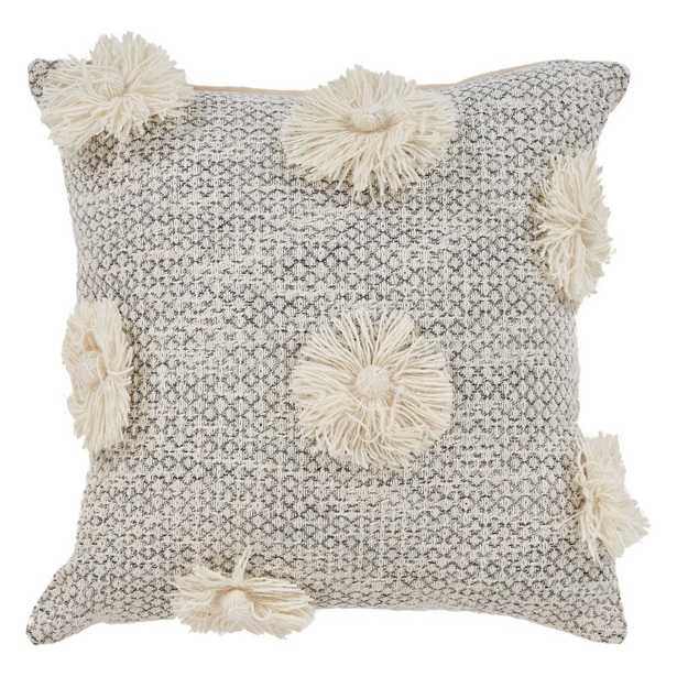 Eclectic Tassle Gray Natural 18 in. x 18 in. Square Throw Standard Pillow, Grey - Home Depot