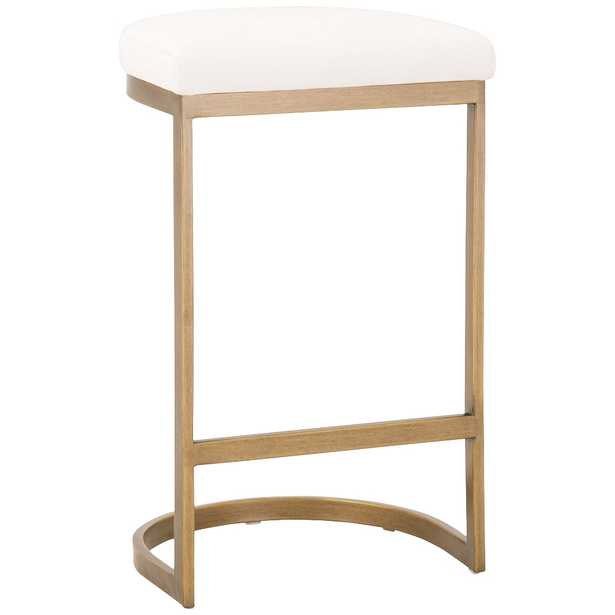 """Cresta 26 1/2"""" Pearl and Brushed Gold Counter Stool - Style # 86H21 - Lamps Plus"""