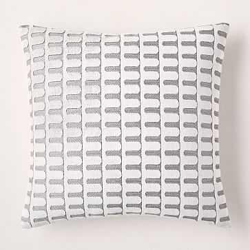 "Cut Velvet Archways Pillow Cover, 20""x20"", White, Set of 2 - West Elm"