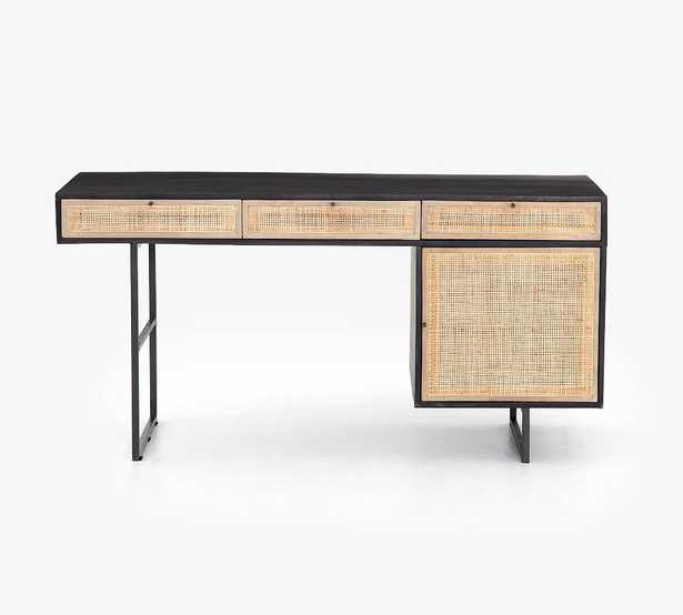 """Dolores 60"""" Cane Desk with Drawers, Black - Pottery Barn"""