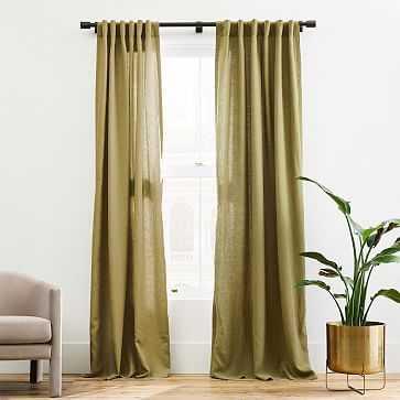 """Belgian Linen Curtain, Camo Olive, 48""""x96"""" - West Elm"""