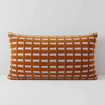 """Cut Velvet Archways Pillow Cover, 12""""x21"""", Copper - West Elm"""