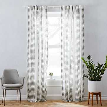 """Striped Ikat Curtain, Pearl Gray, 48""""x96"""" - West Elm"""