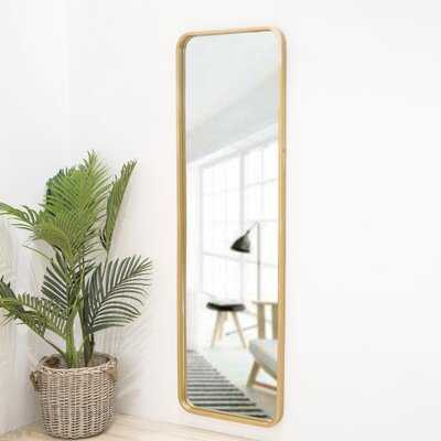 64.5 Inch High Gold Rounded Frame With Floor Stand Wrought Iron Full Length Mirror - Wayfair