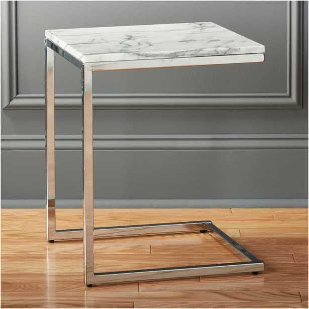 Smart Chrome C Table with White Marble Top - CB2