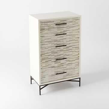 Wood Tiled 5-Drawer Dresser, White - West Elm