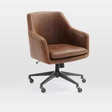 Helvetica Desk Chair, Leather, Molasses, Antique Bronze - West Elm