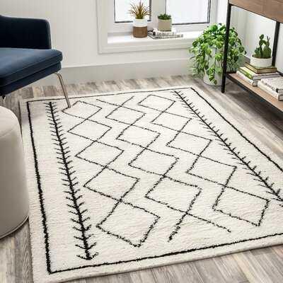 Geometric Style Bohemian Shag Area Rug - Ivory - Wayfair