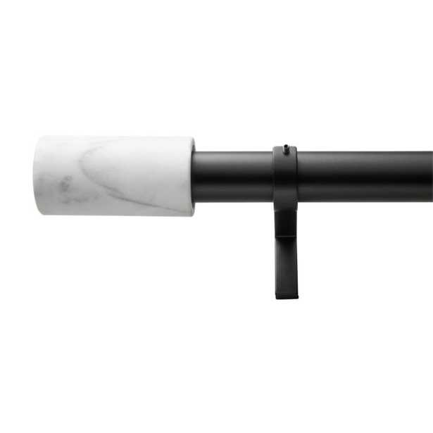 """Matte Black with White Marble Finial Curtain Rod Set 48""""-88""""x1.25""""Dia. - CB2"""