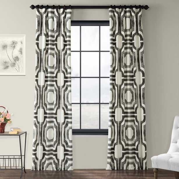 Exclusive Fabrics & Furnishings Mecca Steel Gray Room Darkening Printed Cotton Curtain - 50 in. W x 96 in. L - Home Depot