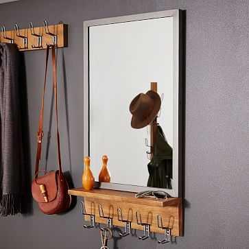 Industrial Entryway Mirror, Mango Wood + Steel - West Elm