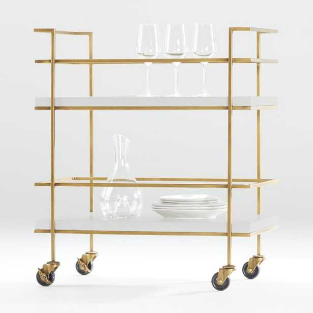 Adina Brass Cart with White Concrete Shelves - Crate and Barrel