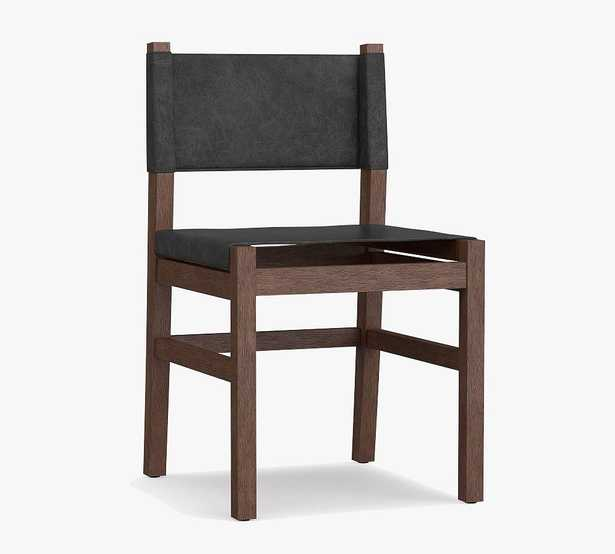 Segura Leather Dining Side Chair, Coffee Bean Leg, Black - Pottery Barn